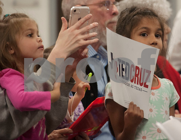 Sisters Avila Pinto, 4, and Siena Pinto, 6, attend a re-election campaign stop event in Tyler for United States Sen. Ted Cruz, R-Tx., at John Soules Foods on Monday April 2, 2018.    (Sarah A. Miller/Tyler Morning Telegraph)