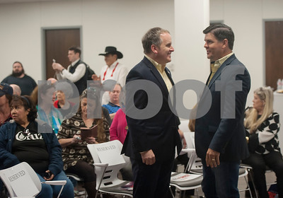 Texas State Senator Bryan Hughes and Texas Representative Cole Hefner talk before a re-election campaign for Republican U.S. Senator Ted Cruz at John Soules Foods in Tyler on Monday April 2, 2018.  (Sarah A. Miller/Tyler Morning Telegraph)