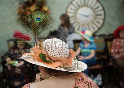 Prestige Estates resident Charlene Monroe wears a fancy hat at the Kentucky Derby stick-horse race at the assisted living facility in Tyler on Tuesday April 23, 2019.   (Sarah A. Miller/Tyler Morning Telegraph)