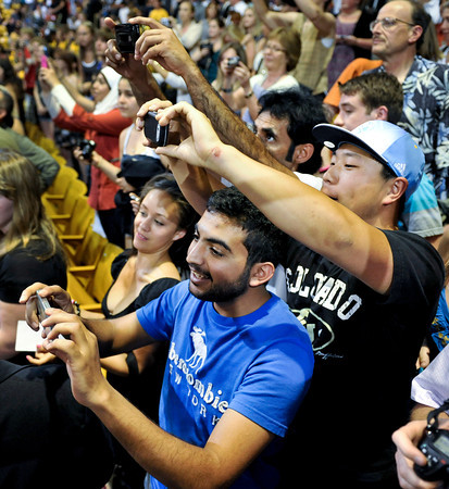 Audience members gather to take pictures after a speech from President Barack Obama at the Coors Events Center at the University of Colorado in Boulder on Tuesday, April 24, 2012.<br /> <br /> (Greg Lindstrom/Times-Call)