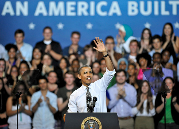 President Barack Obama greets fans at the Coors Events Center at the University of Colorado in Boulder on Tuesday, April 24, 2012.<br /> <br /> (Greg Lindstrom/Times-Call)