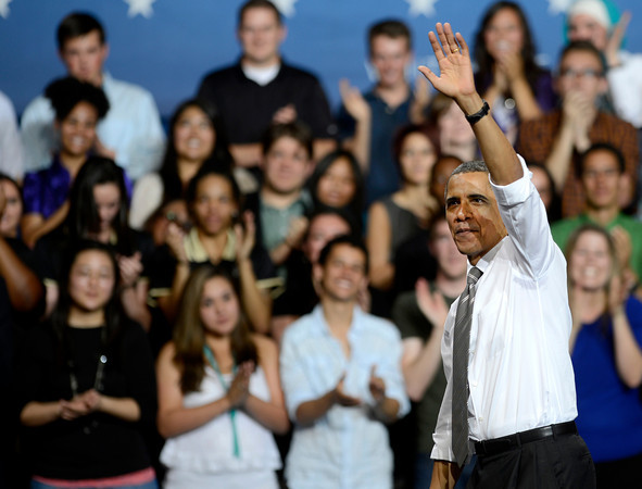 President Barack Obama waves to the crowd after his speech at the University of Colorado in Boulder, Colorado April 24, 2012. CAMERA/MARK LEFFINGWELL
