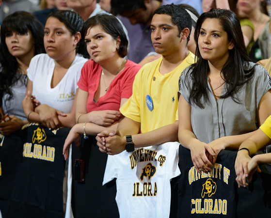 Audience members listen to a speech from President Barack Obama at the Coors Events Center at the University of Colorado in Boulder on Tuesday, April 24, 2012.<br /> <br /> (Greg Lindstrom/Times-Call)
