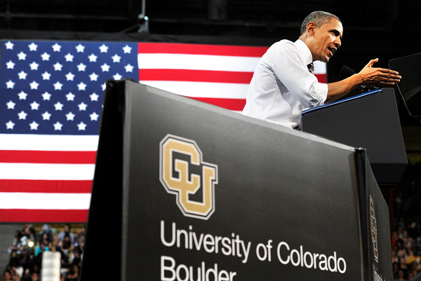 President Barack Obama gestures to the crowd at the Coors Events Center on the University of Colorado Campus during his speech on Tuesday April 24, 2012 in Boulder. Photo by Jeremy Papasso April 24, 2012