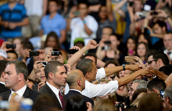 President Barack Obama greets fans after a speech at the Coors Events Center at the University of Colorado in Boulder on Tuesday, April 24, 2012.<br /> <br /> (Greg Lindstrom/Times-Call)
