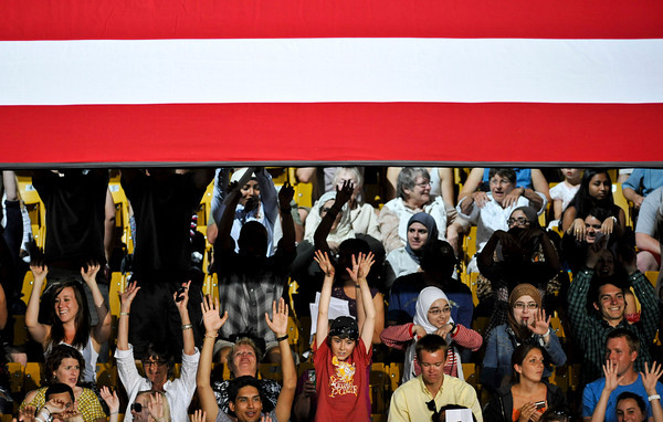 Fans do the wave as they wait for a speech from President Barack Obama at the Coors Events Center at the University of Colorado in Boulder on Tuesday, April 24, 2012.<br /> <br /> (Greg Lindstrom/Times-Call)