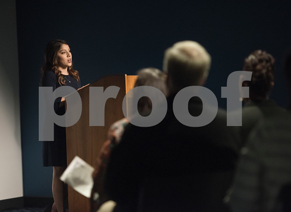 East Texas Crisis Center sexual assault program coordinator Pamela Ortega speaks at the East Texas Crisis Center Hope Awards ceremony held Thursday April 27, at Tyler Public Library's Taylor Auditorium. April is Sexual Assault Awareness Month. Awards were presented to outstanding citizens who have gone above and beyond as volunteers and professionals to help victims of sexual violence.   (Sarah A. Miller/Tyler Morning Telegraph)