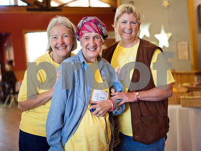 "Cancer survivors Cindy Ardill of Tyler, Linda Whittington of Tyler and Linda Williams of Lindale are pictured during the East Texas Medical Center Cancer Institute's annual ""Great Getaway"" retreat Wednesday April 29, 2015 at Pine Cove in Flint. The retreat provides arts and crafts activities, food, dancing and more for East Texas area cancer survivors.  (photo by Sarah A. Miller/Tyler Morning Telegraph)"