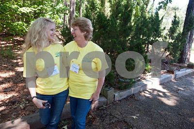 """Cancer survivors Tina Reed of Longview and her mother Marilyn Hill of Longview attended the East Texas Medical Center Cancer Institute's annual """"Great Getaway"""" retreat Wednesday April 29, 2015 at Pine Cove in Flint. The retreat provides arts and crafts activities, food, dancing and more for East Texas area cancer survivors.  (photo by Sarah A. Miller/Tyler Morning Telegraph)"""