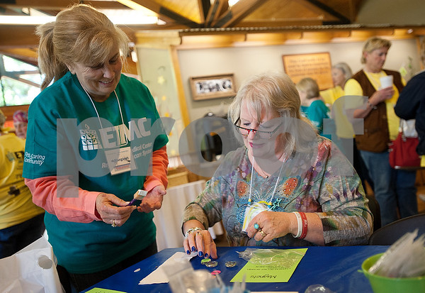 """during the East Texas Medical Center Cancer Institute's annual """"Great Getaway"""" retreat Wednesday April 29, 2015 at Pine Cove in Flint. The retreat provides arts and crafts activities, food, dancing and more for East Texas area cancer survivors.  (photo by Sarah A. Miller/Tyler Morning Telegraph)"""