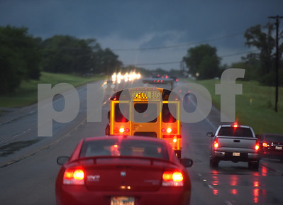 Traffic is backed up heading north into Lindale on US69 after possible tornado activity in Lindale, Texas Friday April 29, 2016.  (Sarah A. Miller/Tyler Morning Telegraph)