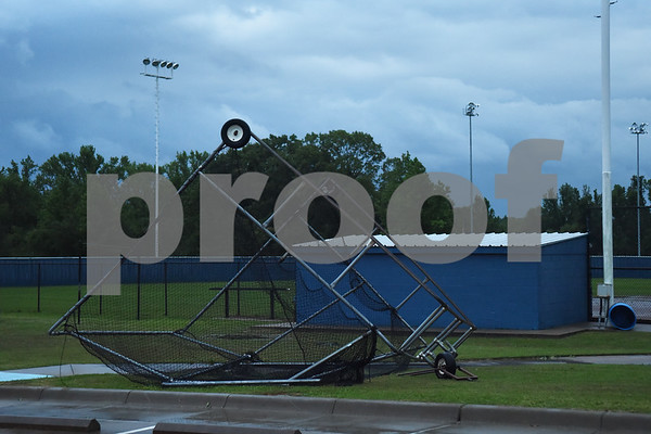 The Lindale High School baseball team batting cage is damaged after possible tornado activity in Lindale, Texas Friday April 29, 2016.  (Sarah A. Miller/Tyler Morning Telegraph)