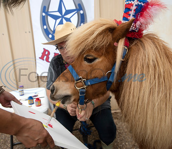 Chismo the Painting Pony holds a brush in his mouth to paint at Camp V, which is one of the organizations receiving funds through East Texas Giving Day on Tuesday April 30, 2019. Camp V is raising money to renovate buildings on the property to bring multiple veterans' services together onto one campus. Chismo is part of THAAT Ranch, one of the vendors that will serve veterans at Camp V through equine therapy.   (Sarah A. Miller/Tyler Morning Telegraph)