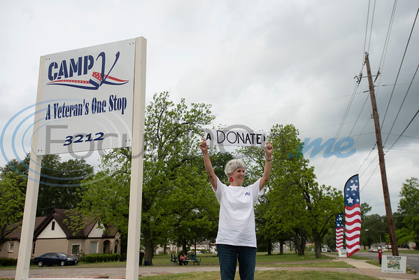 Susan Campbell of the East Texas Veterans Community Council stands in front of the newly purchased property for Camp V off of Front Street in Tyler to help raise money for the organization on East Texas Giving Day on Tuesday April 30, 2019. Camp V is raising money to renovate buildings on the property to bring multiple veterans' services together onto one campus.  (Sarah A. Miller/Tyler Morning Telegraph)