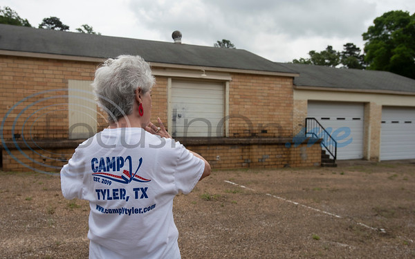 Susan Campbell of the East Texas Veterans Community Council gives a tour of the newly purchased property for Camp V off of Front Street in Tyler. She is helping to raise money for the organization on East Texas Giving Day on Tuesday April 30, 2019. Camp V is raising money to renovate buildings on the property to bring multiple veterans' services together onto one campus.  (Sarah A. Miller/Tyler Morning Telegraph)