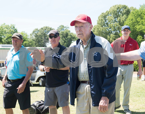 JW Gresham, 97, is recognized for his years of service with the Shriners before the Sharon Shriners Golf Tournament on April 7, 2017 at Pine Springs Golf Club in Tyler.  (Sarah A. Miller/Tyler Morning Telegraph)