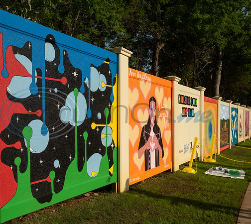 The mural wall is pictured at the grand re-opening of Hillside Park in Tyler on Tuesday April 9, 2019. Hillside Park has undergone extensive renovations that include the installations of new sidewalks, lights, bathrooms, tables, benches, playground equipment and an art wall featuring the work of 15 local artists.   (Sarah A. Miller/Tyler Morning Telegraph)