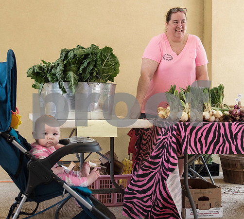 Infant Avery Crim sits in her stroller as her mother shops for produce from the East Texas State Fair Farmer's Market outside of the WIC office on Amherst in Tyler May 11, 2017. Beginning Thursday, May 11th, and running every Thursday morning until July 27th, NET Health is operating the Farmers Market & Block Party at both of the Tyler NET Health WIC locations - 815 North Broadway and 225 East Amherst.  Each event will be held every Thursday morning from 8:30 a.m. until 12:00 p.m.  (Sarah A. Miller/Tyler Morning Telegraph)