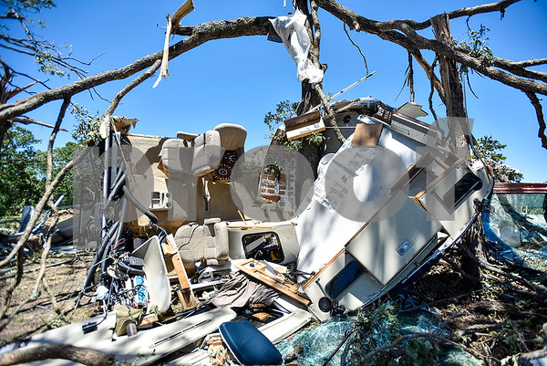 An RV is torn apart and lays on its side on the Cockrum family's property in Fruitvale, Texas, on Monday, May 1, 2017. Four confirmed tornadoes ranging from EF-0 to EF-3 touched down in Northeast Texas April 29, causing widespread damage and power outages. (Chelsea Purgahn/Tyler Morning Telegraph)