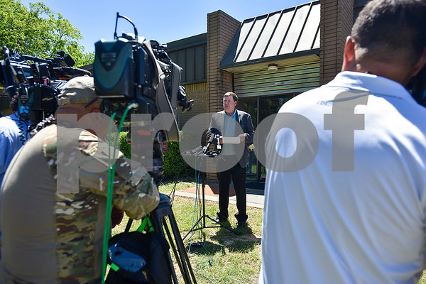 Van Zandt County Judge Don Kirkpatrick speaks to media outside of the Canton Police Department in Canton, Texas, on Monday, May 1, 2017. Four confirmed tornadoes ranging from EF-0 to EF-3 touched down in Northeast Texas April 29, causing widespread damage and power outages. (Chelsea Purgahn/Tyler Morning Telegraph)