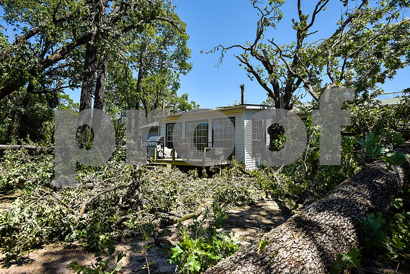 Fallen trees and branches are scattered in the Cockrum family's backyard in Fruitvale, Texas, on Monday, May 1, 2017. Four confirmed tornadoes ranging from EF-0 to EF-3 touched down in Northeast Texas April 29, causing widespread damage and power outages. (Chelsea Purgahn/Tyler Morning Telegraph)