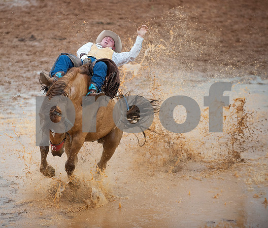 Yance Day of Tahlequah, Oklahoma competes in bareback riding during the Tops in Texas Rodeo Friday night. The Tops in Texas Rodeo continues with their final performance Saturday night at 7 p.m. in Jacksonville.   (photo by Sarah A. Miller/Tyler Morning Telegraph)