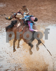 Hunter Carter of Babson Park, Florida competes in bareback riding during the Tops in Texas Rodeo Friday night. The Tops in Texas Rodeo continues with their final performance Saturday night at 7 p.m. in Jacksonville.   (photo by Sarah A. Miller/Tyler Morning Telegraph)