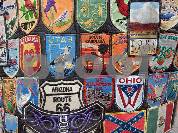 John Styers of Pittsburg, Texas shows off his patches from all the places he has ridden his motorcycle during the 2015 Texas State Harley Owners Group Rally held at Harvey Convention Center in Tyler Friday. The rally continues Saturday with guided rides, a parade, games, bike show and more.  (photo by Sarah A. Miller/Tyler Morning Telegraph)