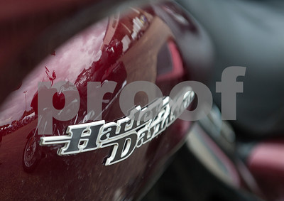 A motorcycle is reflected on a motorcycle in the parking lot during the 2015 Texas State Harley Owners Group Rally held at Harvey Convention Center in Tyler Friday. The rally continues Saturday with guided rides, a parade, games, bike show and more.  (photo by Sarah A. Miller/Tyler Morning Telegraph)