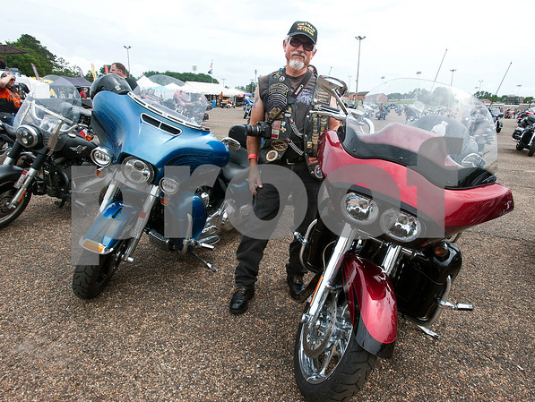 John Styers of Pittsburg, Texas attends the 2015 Texas State Harley Owners Group Rally held at Harvey Convention Center in Tyler Friday. The rally continues Saturday with guided rides, a parade, games, bike show and more.  (photo by Sarah A. Miller/Tyler Morning Telegraph)