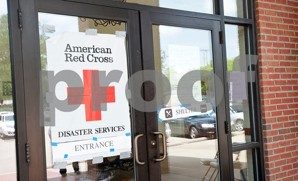 The American Red Cross set up a shelter inside First Baptist Church in Van which is pictured Thursday May 15, 2015. The church and its parking lot have become the main gathering spot for volunteers and town residents seeking shelter after the weekend tornado.    (photo by Sarah A. Miller/Tyler Morning Telegraph)