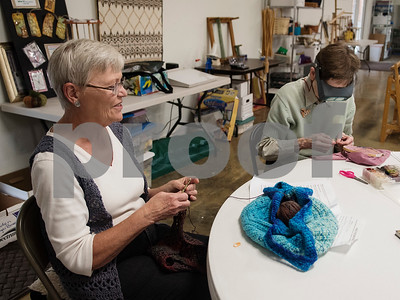 Linda Timmons of Mineola and Helen Mar Parkin of Lindale work on projects at the Mineola League of the Arts Wednesday May 10, 2017. The center has a new fiber arts building were people can learn the art of weaving and other fiber arts.   (Sarah A. Miller/Tyler Morning Telegraph)