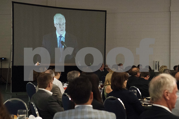 Tyler Mayor Martin Heines is projected onto a large screen as he speaks at the State of the City Address at Harvey Hall Convention Center Wednesday May 17, 2017.  (Sarah A. Miller/Tyler Morning Telegraph)