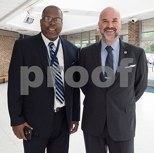 Derrick Choice and Ed Broussard attend the State of the City Address at Harvey Hall Convention Center Wednesday May 17, 2017.  (Sarah A. Miller/Tyler Morning Telegraph)