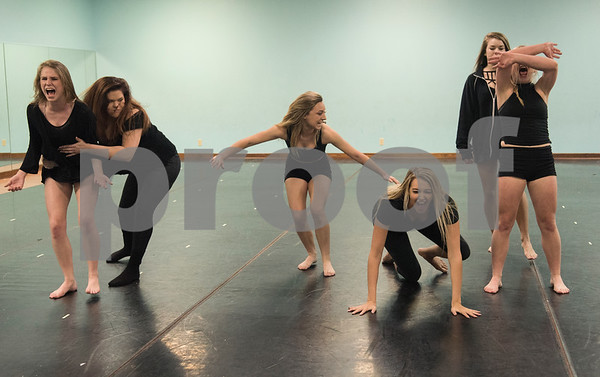 "Dancers practice the choreography of a dance titled ""Trafficking"" by Artistic Dance Concepts instructor Bonnie Hotman-Pehl May 18, 2016. ""Trafficking"" takes on the serious issue of human trafficking. A video of the dance posted to YouTube has been viewed several thousand times.  (Sarah A. Miller/Tyler Morning Telegraph)"