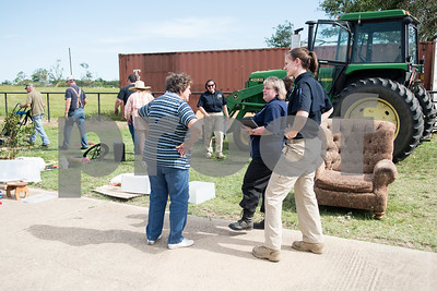 Patty Hunter talks with representatives from FEMA and state officials at her home on Van Zandt County Road 2301 north of Canton, Texas Tuesday May 2, 2017. Hunter's home was destroyed in a tornado Saturday.  (Sarah A. Miller/Tyler Morning Telegraph)