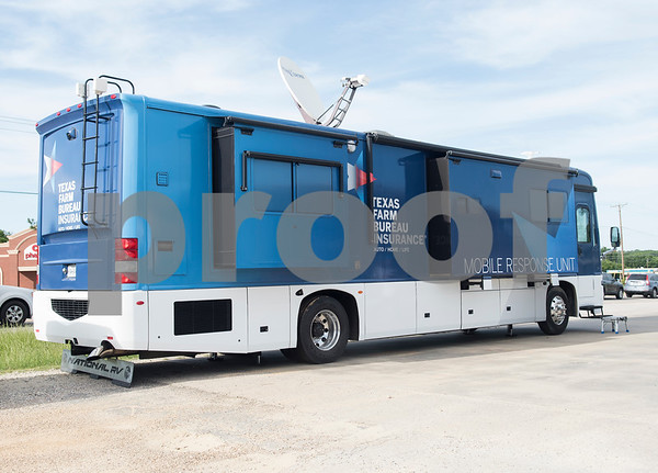 A mobile response unit from Texas Farm Bureau Insurance is set up to help tornado victims file insurance claims in Canton, Texas Tuesday May 2, 2017.   (Sarah A. Miller/Tyler Morning Telegraph)