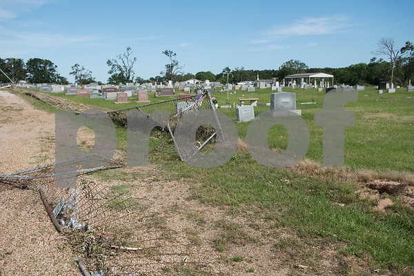 The fence around the Old Bethel Cemetery north of Canton, Texas is pictured destroyed Tuesday May 2, 2017.   (Sarah A. Miller/Tyler Morning Telegraph)