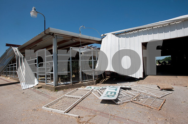 The Rusk County Youth Expo Center,  3303 FM 13 West, Henderson, Texas sustained damage from a tornado Monday night.   (photo by Sarah A. Miller/Tyler Morning Telegraph)