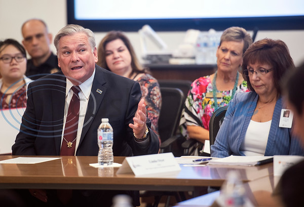 Smith County Sheriff Larry Smith speaks during a roundtable discussion hosted by U.S. Senator John Cornyn (R-TX), on Wednesday May 29, 2019 at W.T. Brookshire Hall at The University of Texas at Tyler on opioid addiction and how legislation which was recently signed into law, the SUPPORT for Patients and Communities Act. Representatives from The University of Texas at Tyler's Pharmacy School, the East Texas Council on Alcoholism and Drug Abuse, local health care providers, law enforcement officers, and community leaders discussed their efforts to help those with substance abuse problems get into treatment and recovery programs, and how to work to prevent illegal drug use. Following the roundtable, Sen. Cornyn toured UT-Tyler's Fisch College of Pharmacy.  (Sarah A. Miller/Tyler Morning Telegraph)