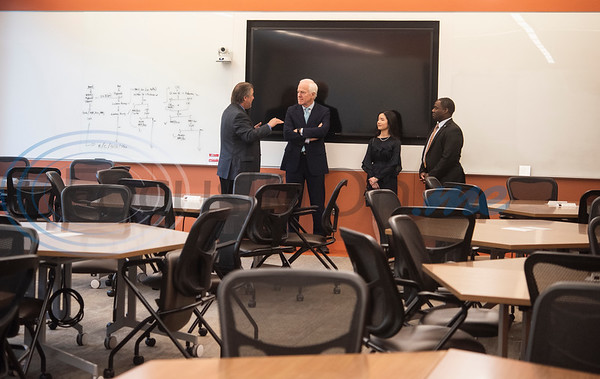 Dr. Lane Brunner, Dean of the Fisch College of Pharmacy, U.S. Senator John Cornyn (R-TX), 2019 pharmacy valedictorian Ngoc Nguyen and UT-Tyler President Dr. Michael Tidwell tour the Ben and Maytee Fisch College of Pharmacy after Cornyn hosted a roundtable discussion at the school about opioid addiction on Wednesday May 29, 2019 at W.T. Brookshire Hall at The University of Texas at Tyler. The roundtable discussed how legislation which was recently signed into law, the SUPPORT for Patients and Communities Act and was attended by representatives from UT-Tyler, the East Texas Council on Alcoholism and Drug Abuse, local health care providers, law enforcement officers, and community leaders.  (Sarah A. Miller/Tyler Morning Telegraph)