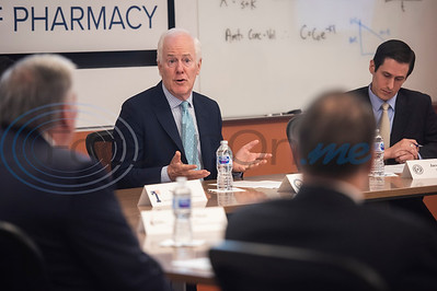 U.S. Senator John Cornyn (R-TX), hosts a roundtable discussion on Wednesday May 29, 2019 at W.T. Brookshire Hall at The University of Texas at Tyler on opioid addiction and how legislation which was recently signed into law, the SUPPORT for Patients and Communities Act. Representatives from The University of Texas at Tyler's Pharmacy School, the East Texas Council on Alcoholism and Drug Abuse, local health care providers, law enforcement officers, and community leaders discussed their efforts to help those with substance abuse problems get into treatment and recovery programs, and how to work to prevent illegal drug use. Following the roundtable, Sen. Cornyn toured UT-Tyler's Fisch College of Pharmacy.  (Sarah A. Miller/Tyler Morning Telegraph)