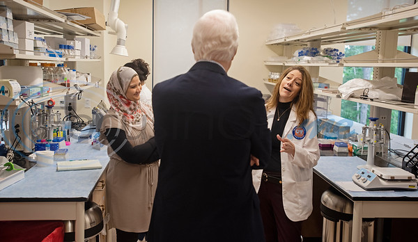 U.S. Senator John Cornyn (R-TX) meets with Dr. May Abdelaziz, left, and student pharmacist Heather Sibal, right, during a tour of the Fisch College of Pharmacy pharmacy lab after Cornyn hosted a roundtable discussion at the school about opioid addiction on Wednesday May 29, 2019 at W.T. Brookshire Hall at The University of Texas at Tyler. The roundtable discussed how legislation which was recently signed into law, the SUPPORT for Patients and Communities Act and was attended by representatives from UT-Tyler, the East Texas Council on Alcoholism and Drug Abuse, local health care providers, law enforcement officers, and community leaders.  (Sarah A. Miller/Tyler Morning Telegraph)