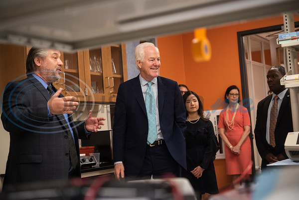 Dr. Lane Brunner, Dean of the Fisch College of Pharmacy, at left, gives U.S. Senator John Cornyn (R-TX) a tour of the pharmacy lab after Cornyn hosted a roundtable discussion at the school about opioid addiction on Wednesday May 29, 2019 at W.T. Brookshire Hall at The University of Texas at Tyler. The roundtable discussed how legislation which was recently signed into law, the SUPPORT for Patients and Communities Act and was attended by representatives from UT-Tyler, the East Texas Council on Alcoholism and Drug Abuse, local health care providers, law enforcement officers, and community leaders.  (Sarah A. Miller/Tyler Morning Telegraph)
