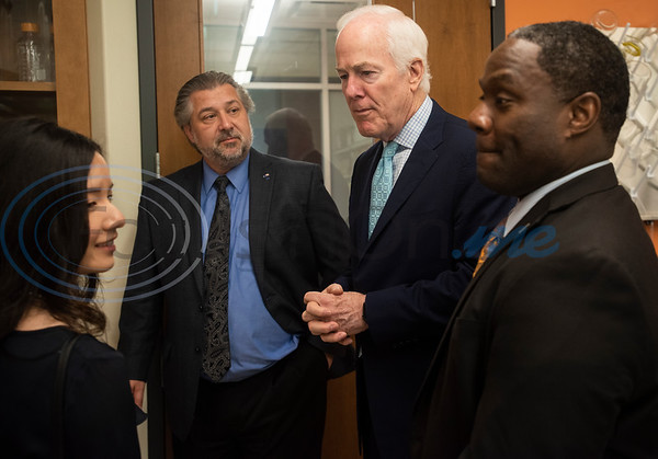 Pharmacy valedictorian Ngoc Nguyen, Dr. Lane Brunner, Dean of the Fisch College of Pharmacy, U.S. Senator John Cornyn (R-TX) and UT-Tyler President Dr. Michael Tidwell tour the pharmacy lab after Cornyn hosted a roundtable discussion at the school about opioid addiction on Wednesday May 29, 2019 at W.T. Brookshire Hall at The University of Texas at Tyler. The roundtable discussed how legislation which was recently signed into law, the SUPPORT for Patients and Communities Act and was attended by representatives from UT-Tyler, the East Texas Council on Alcoholism and Drug Abuse, local health care providers, law enforcement officers, and community leaders.  (Sarah A. Miller/Tyler Morning Telegraph)