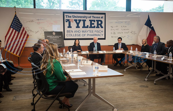 U.S. Senator John Cornyn (R-TX), center, hosts a roundtable discussion on Wednesday May 29, 2019 at W.T. Brookshire Hall at The University of Texas at Tyler on opioid addiction and how legislation which was recently signed into law, the SUPPORT for Patients and Communities Act. Representatives from The University of Texas at Tyler's Pharmacy School, the East Texas Council on Alcoholism and Drug Abuse, local health care providers, law enforcement officers, and community leaders discussed their efforts to help those with substance abuse problems get into treatment and recovery programs, and how to work to prevent illegal drug use. Following the roundtable, Sen. Cornyn toured UT-Tyler's Fisch College of Pharmacy.  (Sarah A. Miller/Tyler Morning Telegraph)