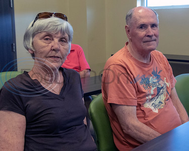 Barbara and Clark Nash, of Tyler, at the Roosth Properties community meeting to discuss a new development plan, Thursday, May 30, 2019. The community meeting was held at the Faulkner Park police substation, in Tyler.. (Rick Flack Photo)