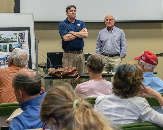 (L) Mark Priestner, Planning Concepts, and (R) Steve Roosth, Roosth Properties, prepare to start the meeting at the Roosth Properties community meeting to discuss a new development plan, Thursday, May 30, 2019. The community meeting was held at the Faulkner Park police substation, in Tyler.. (Rick Flack Photo)