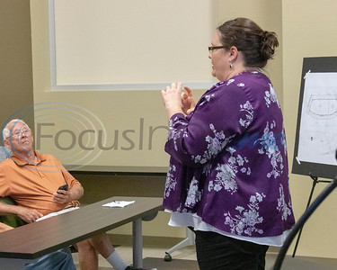 Heather Nick, City of Tyler Managing Director, addresses the attendees at the Roosth Properties community meeting to discuss a new development plan, Thursday, May 30, 2019. The community meeting was held at the Faulkner Park police substation, in Tyler.. (Rick Flack Photo)