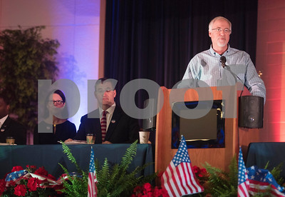 Tyler Mayor Martin Heines speaks during the 26th Annual Mayor's Prayer Breakfast held Thursday May 4, 2017 at Harvey Convention Center in Tyler. The event coincides with the National Day of Prayer and offers an opportunity for residents, area leaders and city officials to come together and pray for specific topics like unity, schools, and local and national government.  (Sarah A. Miller/Tyler Morning Telegraph)